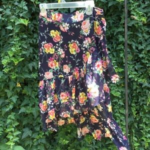 L.N.V. Floral Ruffles Midi Skirt